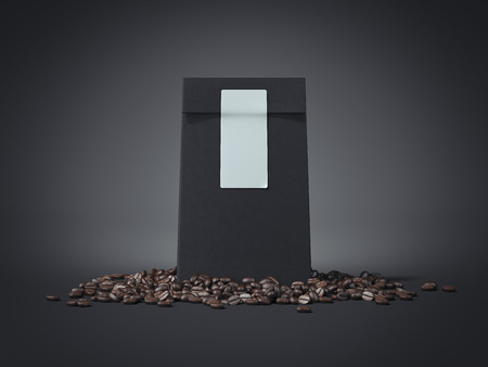 Black package with blank sticker and coffee beans. 3d rendering