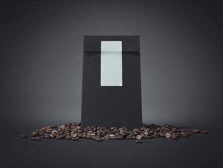 Pacchetto nero con adesivo bianco e chicchi di caffè. Rendering 3d Archivio Fotografico - 91138498