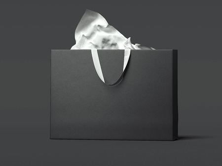 Black wide shopping bag. 3d rendering Stock Photo