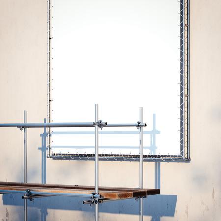 스 캐 폴딩 및 벽에 배너입니다. 3 차원 렌더링