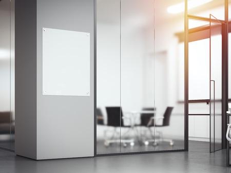 ガラス仕切り付きのオフィスの看板。3D レンダリング
