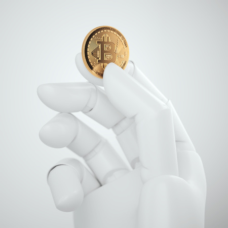 Golden bitcoin in the white robot hand. 3d rendering Stock Photo