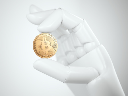Golden bitcoin shining in the white robot hand. 3d rendering Stock Photo