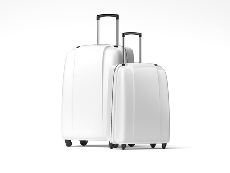 Two white travel bags. 3d rendering 写真素材