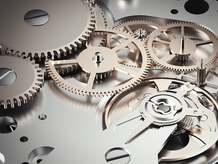 Clockwork mechanism with gears. 3d rendering