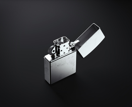 Iron Metal Lighter. 3d rendering