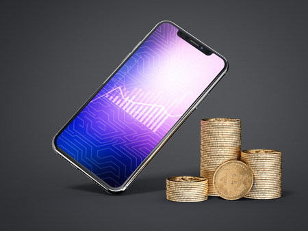 Three stacks of bitcoins and smartphone. 3d rendering Фото со стока