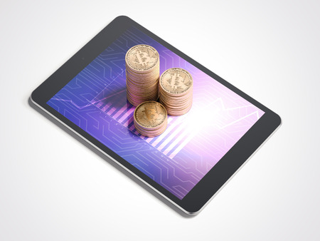Three stacks of bitcoins and tablet pc. 3d rendering Stock Photo - 92279886
