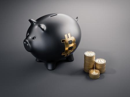 검은 돼지 저금통과 bitcoins의 스택. 3 차원 렌더링