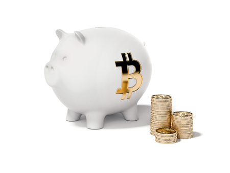 White piggy bank and stacks of bitcoins. 3d rendering 版權商用圖片 - 92279891