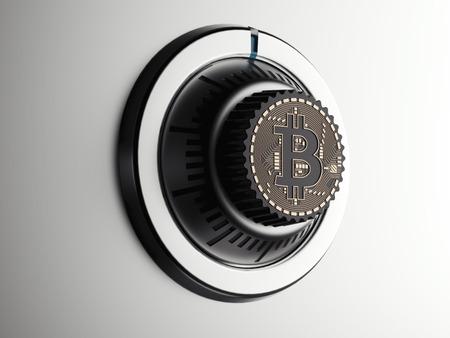 Veilige wijzerplaat met bitcoinsymbool. 3D-weergave