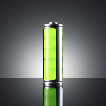 녹색 표시등이있는 배터리. 3 차원 렌더링