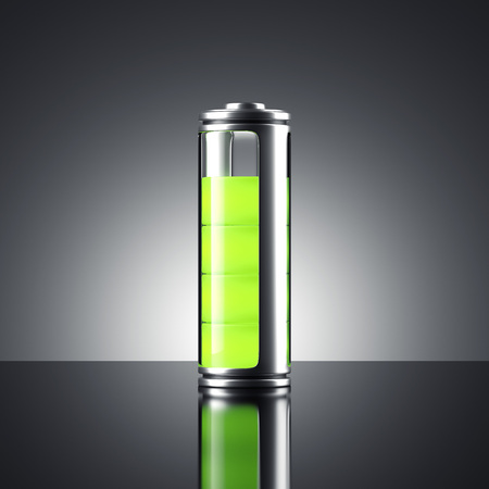 Battery with green indicator. 3d rendering 写真素材 - 92280118