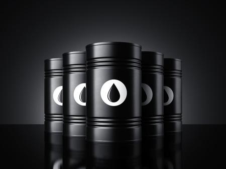 Black oil barrels. 3d rendering Archivio Fotografico