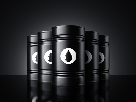 Black oil barrels. 3d rendering Stock Photo