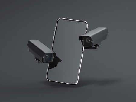 Modern smartphone with two black spy cams. 3d rendering Stok Fotoğraf - 92280172