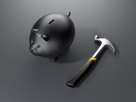 Piggy bank with hammer. 3d rendering Zdjęcie Seryjne