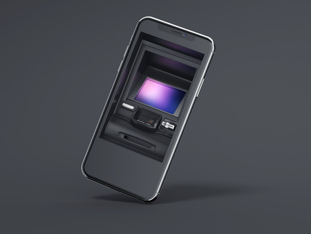 Modern smartphone with ATM as display. 3d rendering