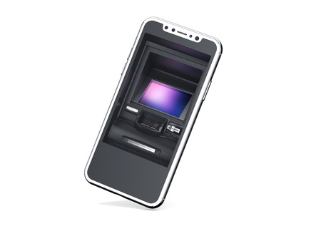 Smartphone with ATM as display isolated on bright background. 3d rendering Stock Photo