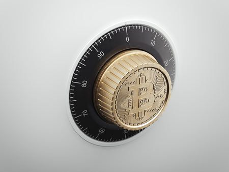 Safe dial with bitcoin symbol. 3d rendering Stock Photo