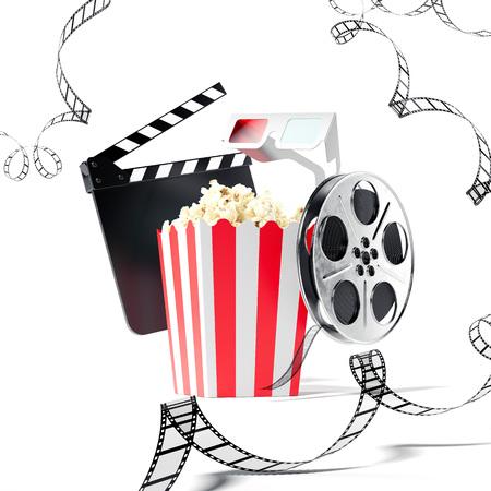 Popcorn, clap movie and film reel. 3d rendering
