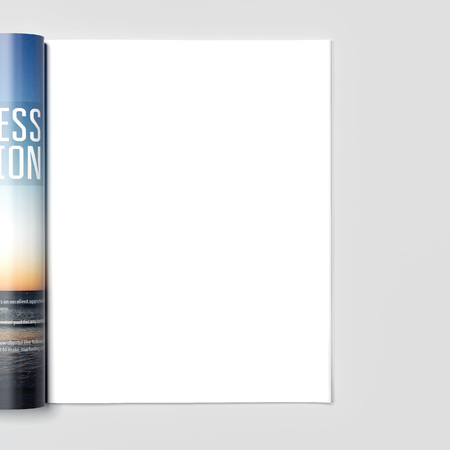 Magazine with blank white page. 3d rendering