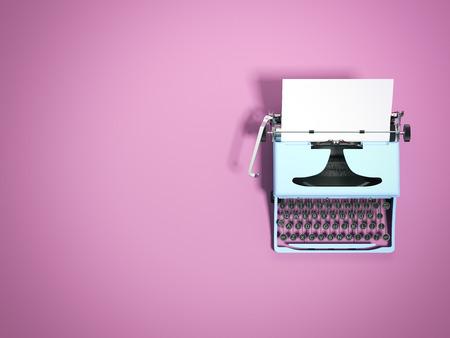 Niebieska maszyna do pisania. renderowanie 3d
