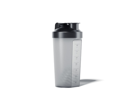 Transparent shaker for the protein cocktail. 3d rendering Stock Photo