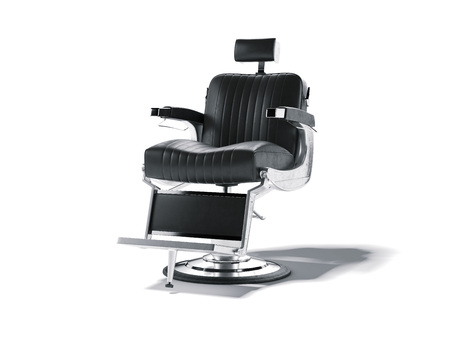 白で隔離された理髪店の椅子。3D レンダリング