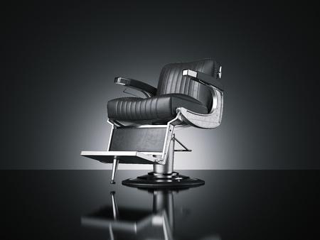 Barbershop chair isolated dark background. 3d rendering