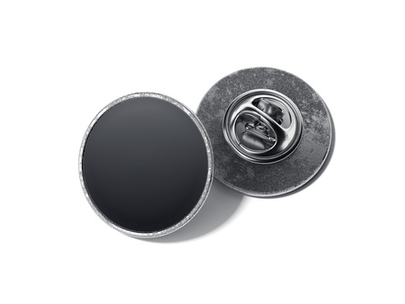 Round lapel pin with black blank face. 3d rendering 写真素材