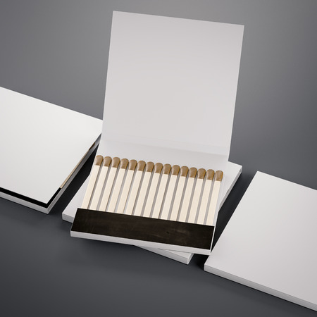 White matchboxes. 3d rendering Stock Photo