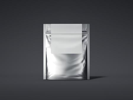 ブランクラベル付きシルバージッパーバッグ。3D レンダリング 写真素材