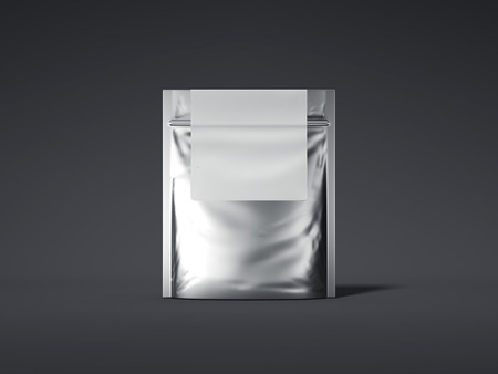 Silver zipper bag with blank label. 3d rendering Stock Photo