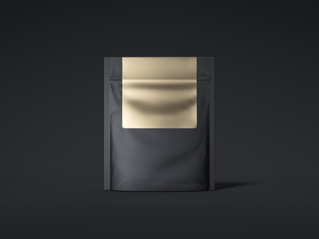 Black zipper bag with golden label. 3d rendering