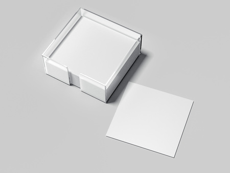Blank white notes with glass holder. 3d rendering