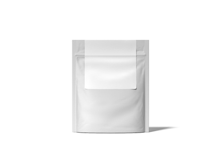 White zipper bag with blank label. 3d rendering