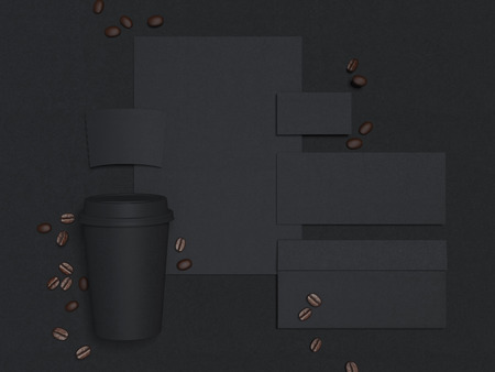 Business mockup with coffee cup. 3d rendering