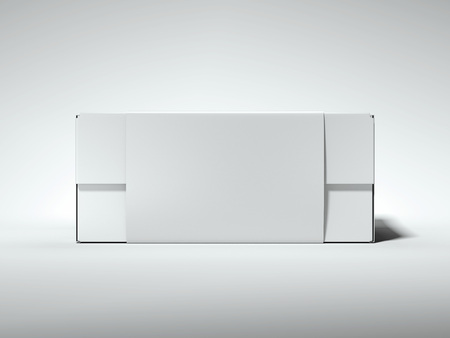 White box with white label. 3d rendering Stock fotó