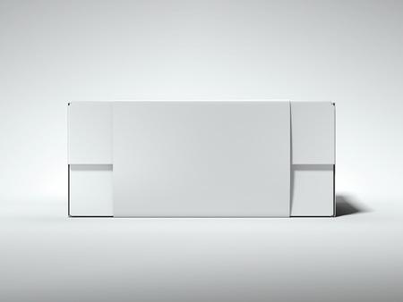 Witte doos met wit label. 3D-weergave