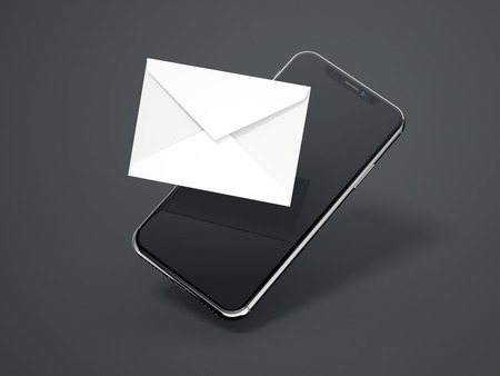 Modern smartphone with white envelope. 3d rendering