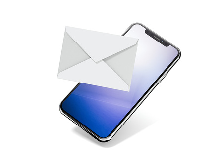 Smartphone with white envelope isolated on bright background. 3d rendering
