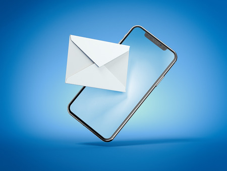 Smartphone with white envelope isolated on blue background. 3d rendering