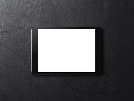 Black tablet with blank screen. 3d rendering
