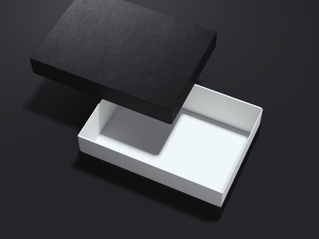 Black opened box. 3d rendering
