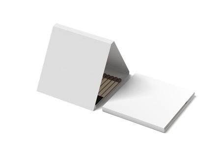 White opened matchbox. 3d rendering