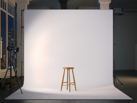 Modern photostudio with blank screen and wooden chair. 3d rendering Stok Fotoğraf