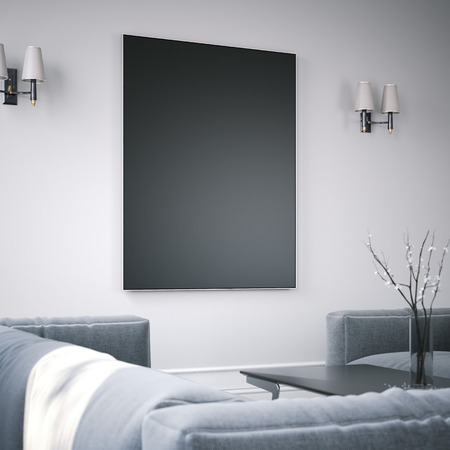Living room interior with black blank picture frame. 3d rendering