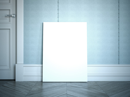 木製の床に白いポスター。3D レンダリング
