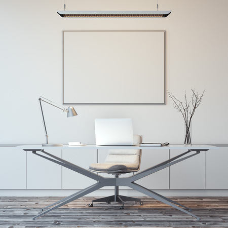 Bright white office interior with blank picture frame. 3d rendering Stock Photo